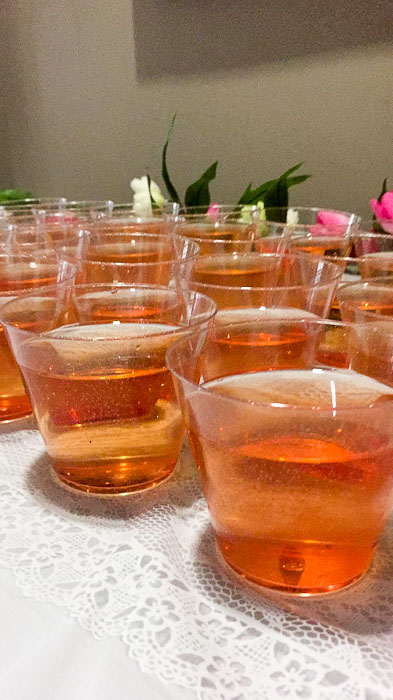 glasses of blushing bride cocktails