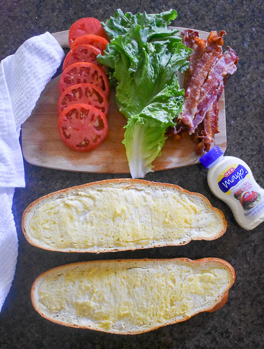 ingredients for shareable BLT sub sandwich