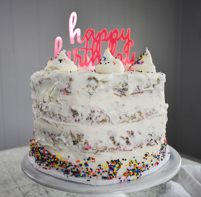 decorated birthday cake with topper
