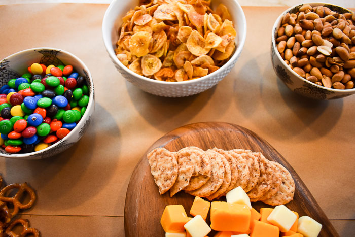 assorted snacks in bowls