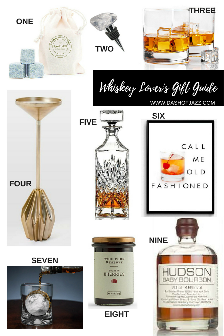 graphic gift guide of gifts for the whiskey lover