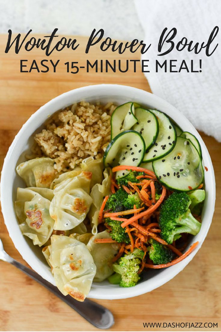 Make this easy and inspired power bowl with Asian flavors for dinner in just 15 minutes whenever you\'re tired of your same ol\' same ol\' but still want to eat well! Recipe by Dash of Jazz #quickdinner #mealprep #weeknightrecipe #powerbowl