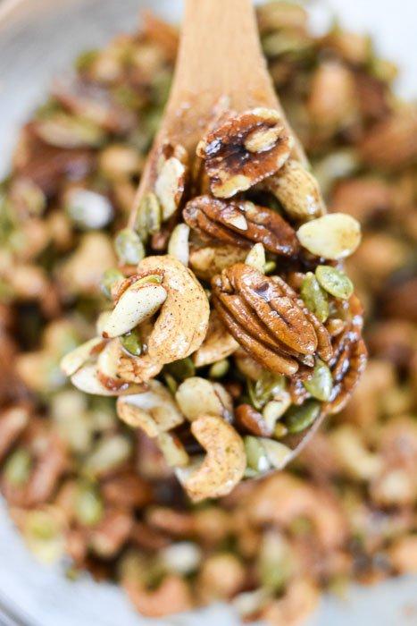 mixture of apple cinnamon grain-free granola before baking