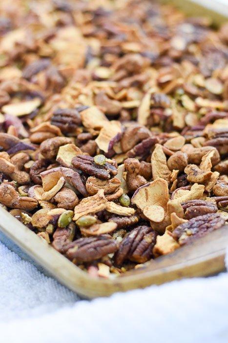 pan of baked apple cinnamon grain-free granola