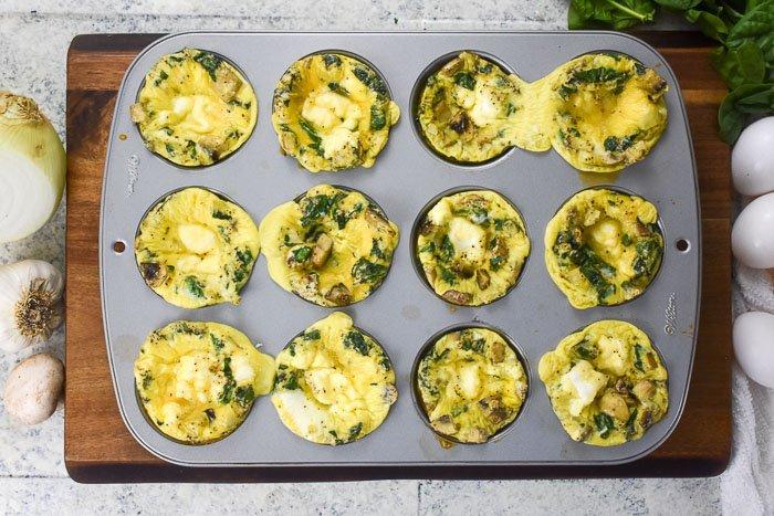one dozen scrambled egg breakfast muffins