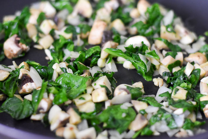 sauteed spinach, mushrooms, and garlic