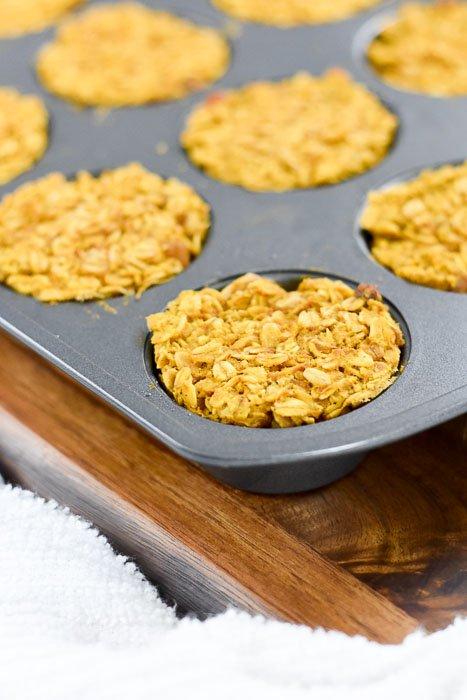 pumpkin walnut oatmeal muffins in cupcake pan