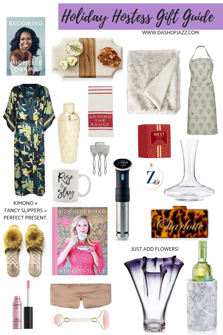 A roundup of the perfect holiday hostess gift ideas from prudent to pricey! Christmas gifts for the hostess with the mostest on your list. #dashofjazzblog #Christmasgiftideas #hostessgiftideas