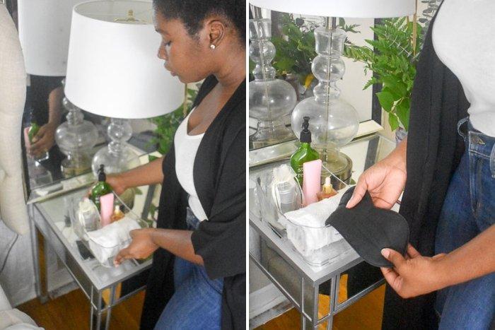 placing basket of toiletries on nightstand table