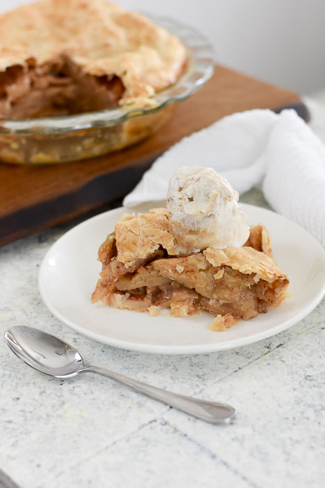 slice of caramel apple pie a la mode