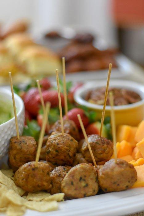 Aidell's chicken meatballs on toothpicks
