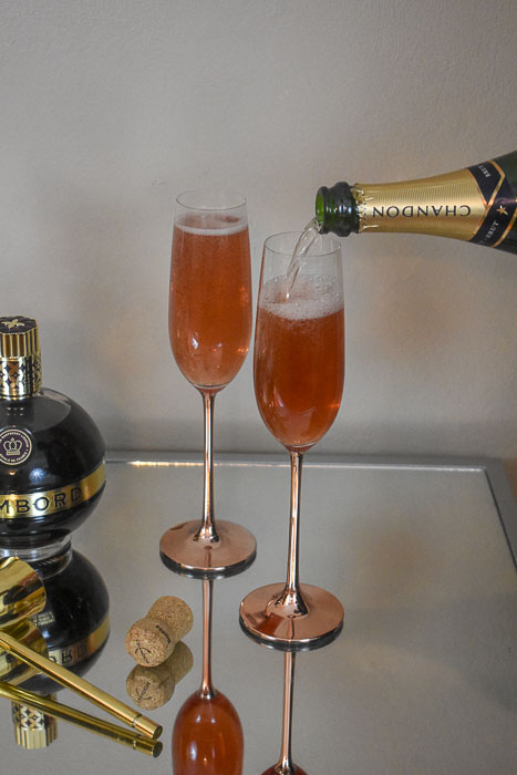 topping off cocktails with champagne