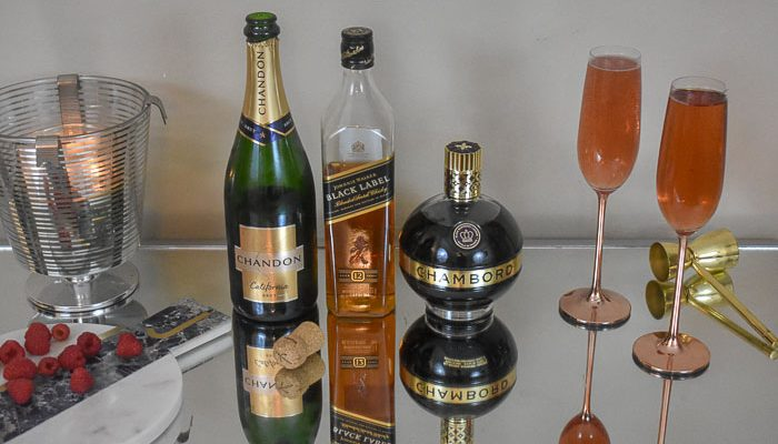 whiskey champagne cocktails and ingredients