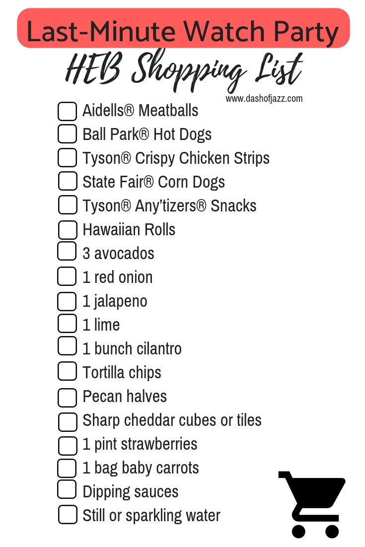Printable HEB Shopping List for Planning a Last-Minute Watch Party