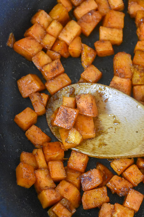 caramelized sweet potatoes in pan