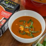 tomato basil chicken soup in bowl