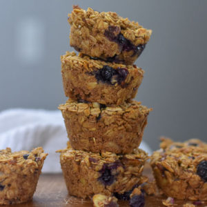 Almond Butter & Berry Oatmeal Breakfast Muffins (Vegan)