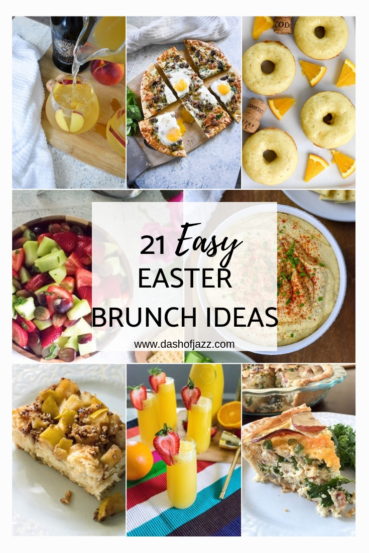 A roundup of easy Easter brunch recipe ideas including sweet brunch recipes, savory brunch recipes, and cocktails and mocktails by Dash of Jazz #dashofjazzblog #Easterbrunchmenuideas #Easterbrunchideasfood #Easterdessertsideas