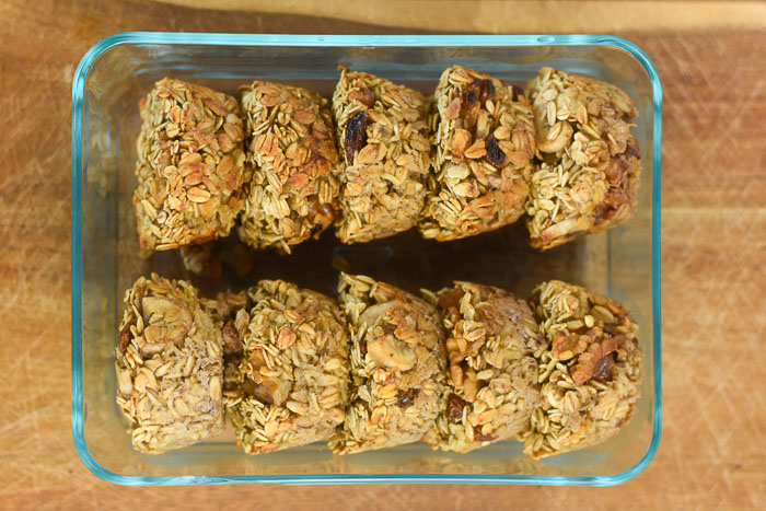 banana nut oatmeal muffins in glass container