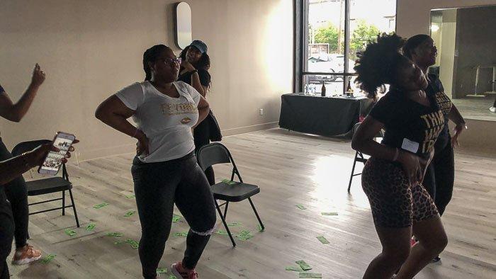 women dancing at Inner Me Houston Beyoncé bachelorette dance party