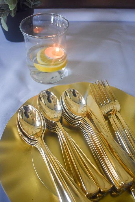 gold flatware at bridal shower