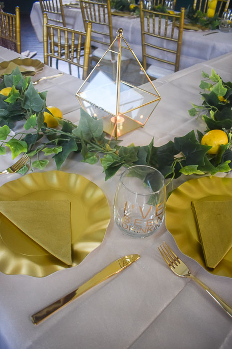 blush and gold tablescape decor at Lemonade themed bridal shower