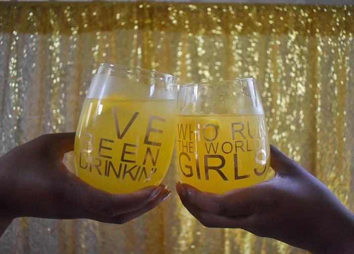 Beyonce lyric stemless wine glasses