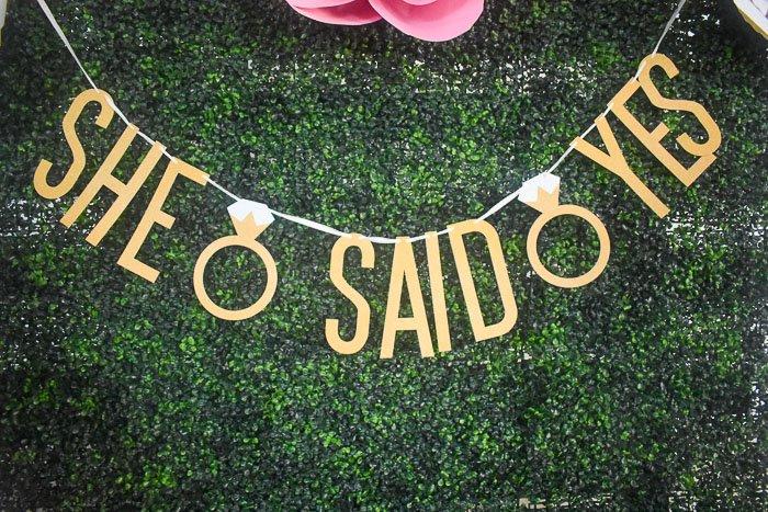 She Said Yes engagement garland at bridal shower