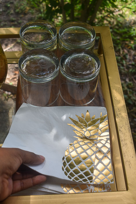gold foil pineapple nakins on outdoor bar cart