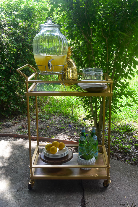 bar cart styled for outdoor dining