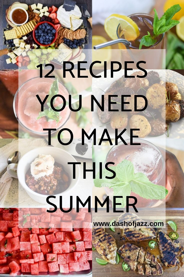Roundup of easy summer drink, sweet, savory, and party recipes by Dash of Jazz #dashofjazzblog #summerrecipesdessert #summerfruitrecipes