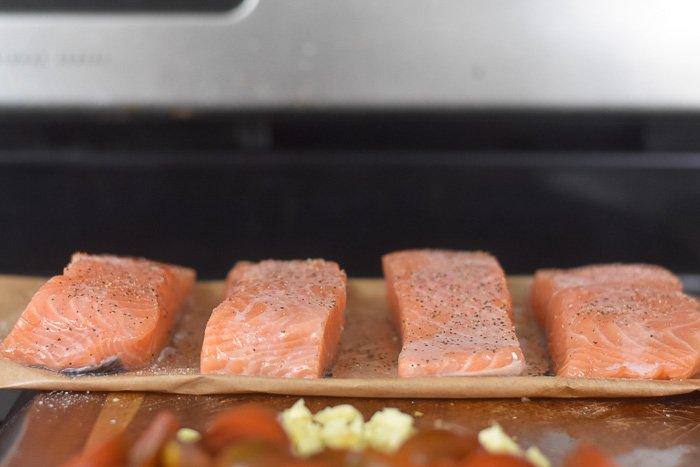 seasoned salmon on cutting board