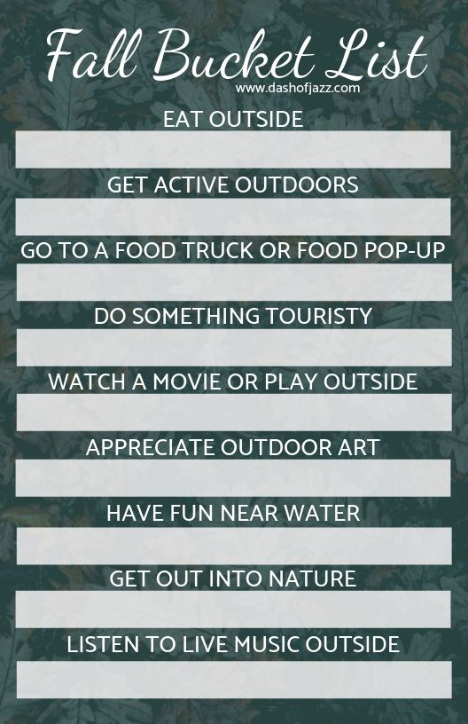Fall bucket list to fill out for your city's activities