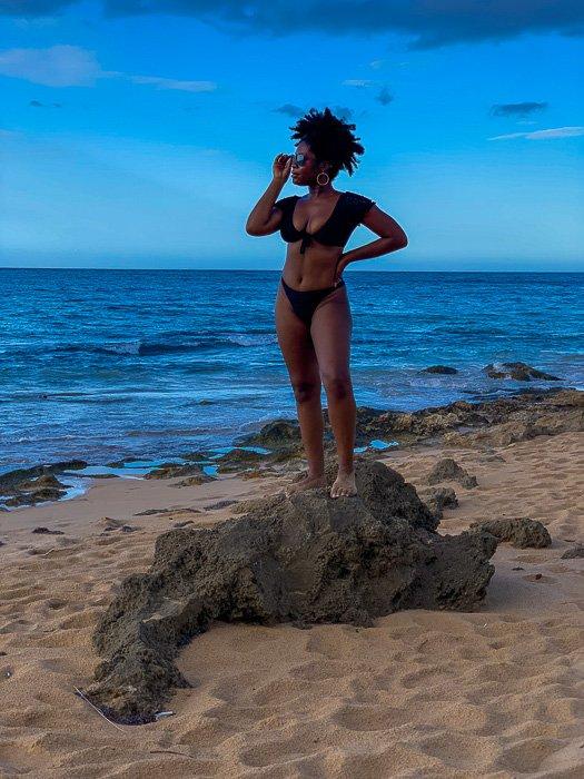 Dash of Jazz on Condado Beach in black bikini