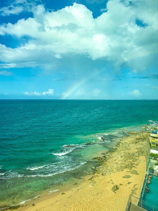 rainbow over Condado Beach in San Juan, Puerto Rico