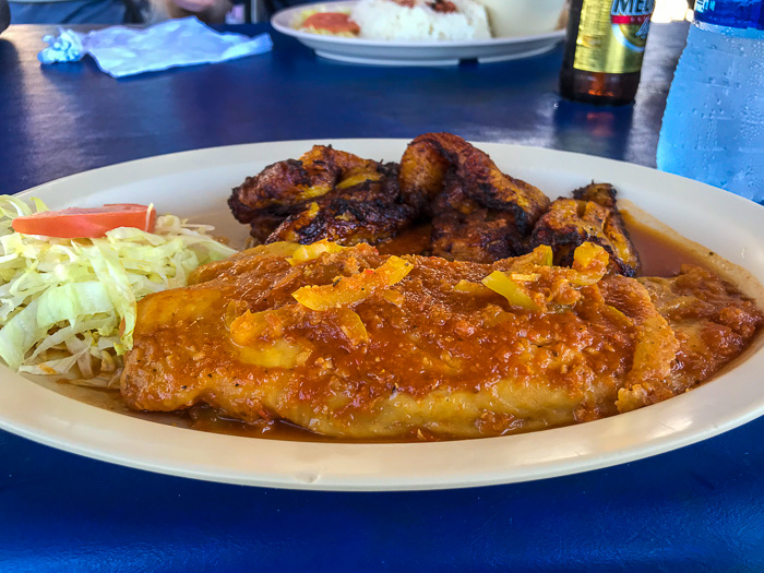 grouper in creole sauce with sweet plantains