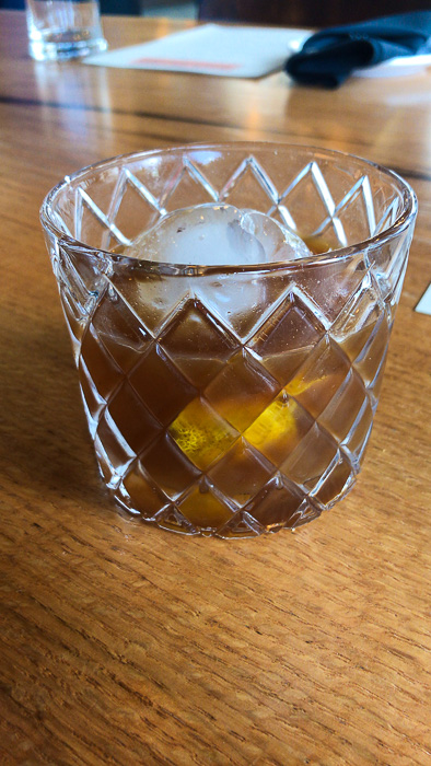 Peanut old fashioned at Kulture downtown Houston