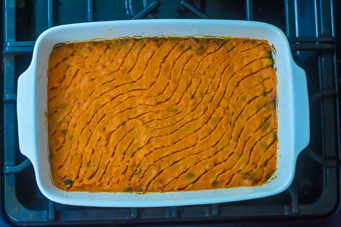 baked fusion sweet potato shepherd's pie