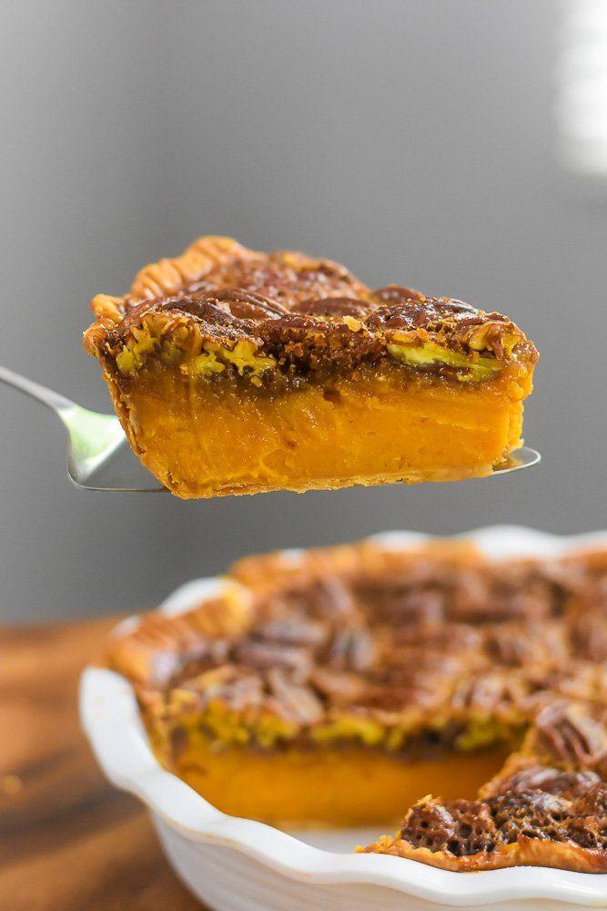 side view of slice of bourbon sweet potato pecan pie